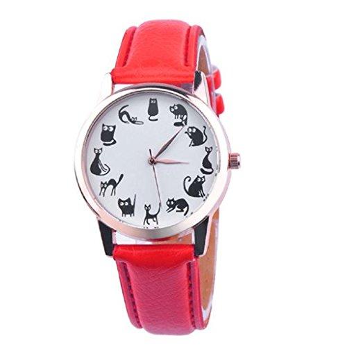 Loveso Damen uhr Armbanduhr elegant Frauen Mode Zeiger analoge Quarz Leder Band Mode Armbanduhren Rot
