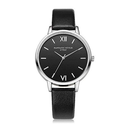 Loveso Armbanduhr elegant Retro Entwurfs silberne Rand Leder Band analoge Legierungs Schwarz