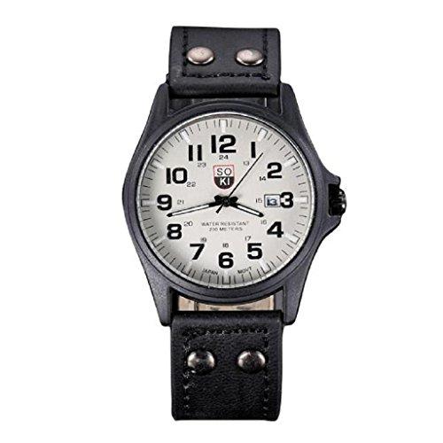 Loveso Herren Elegant Armbanduhr Vintage klassische Mens Wasserdicht Datum Lederband Sport Quarz Uhr Armee Schwarz A