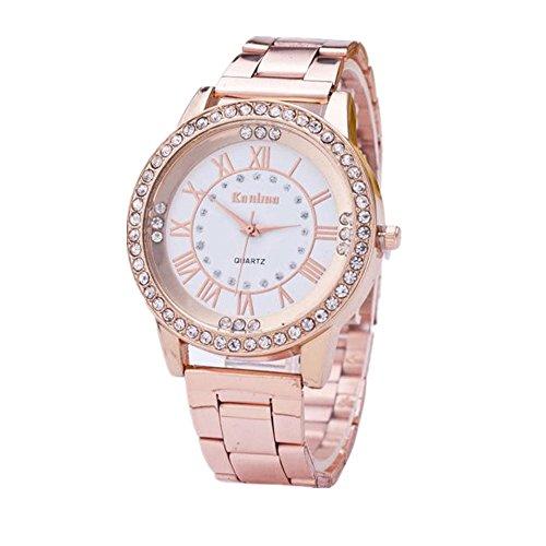 Loveso Herren Elegant Armbanduhr Kristallrhinestone Edelstahl analoge der Frauen der Maenner Rose Gold