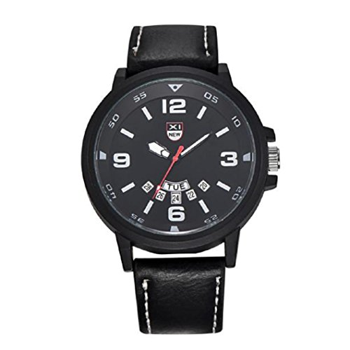 Loveso Herren Elegant Armbanduhr Mode fuer Maenner Lederband Uhren Militaersport Analog Quarz Datum Armbanduhr Schwarz