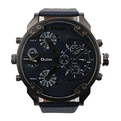 Loveso Herren Elegant Armbanduhr Maenner Militaer Armee Luxus Quarz Grosse Lederband Uhr Armbanduhr Oulm Blau