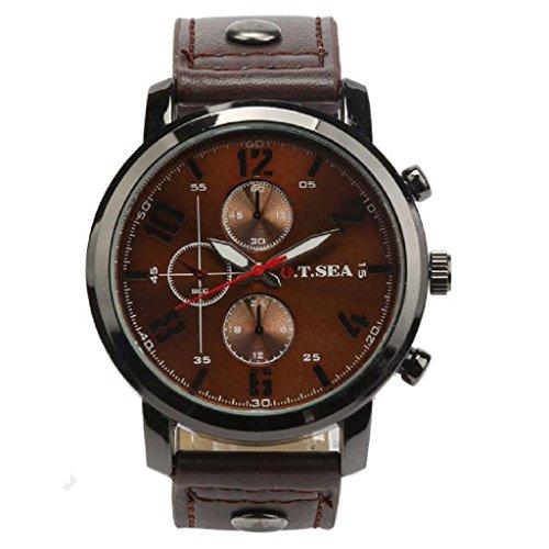Loveso Herren Elegant Armbanduhr 2016 Mode Maenner Sport Luxus Lederband Quarz Uhren Armbanduhren Kaffee