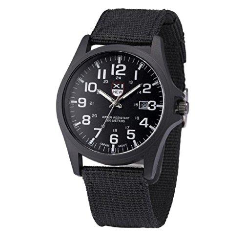 Loveso Herren Elegant Armbanduhr Mode Outdoor Herren Datum Edelstahl Militaer Sport analoge Quarz Armbanduhr Armee Schwarz