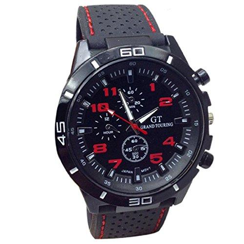 Loveso Herren Elegant Armbanduhr 2016 Quarz Uhr Mann Militaeruhren Sport Armbanduhr Silikon Mode Stunden Rot