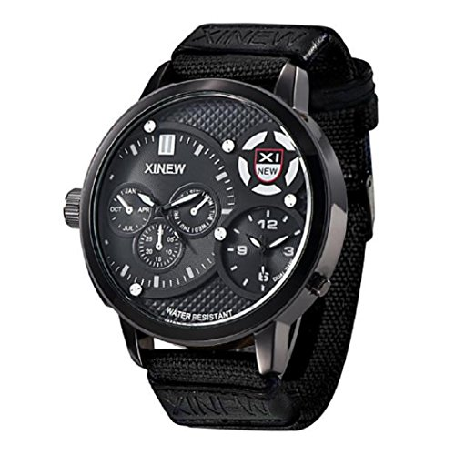 Loveso Herren Elegant Armbanduhr Maenner Mode 30 m wasserdicht Militaersport Quarz Uhr Armbanduhr Schwarz