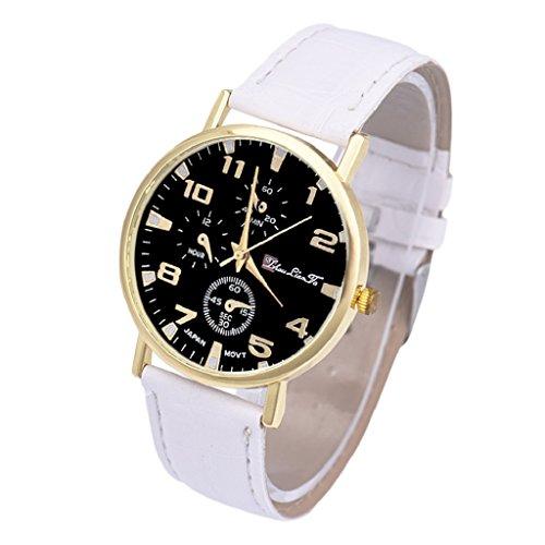 Loveso Herren Elegant Armbanduhr Mode Unisex Leder Band Analog Quarz Geschaefts Armbanduhr Weiss