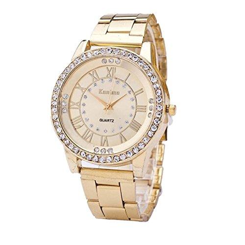 Loveso Herren Elegant Armbanduhr Kristallrhinestone Edelstahl analoge Quarz Armbanduhr der Frauen der Maenner Gold
