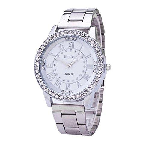 Loveso Herren Elegant Armbanduhr Kristallrhinestone Edelstahl analoge der Frauen der Maenner Silber