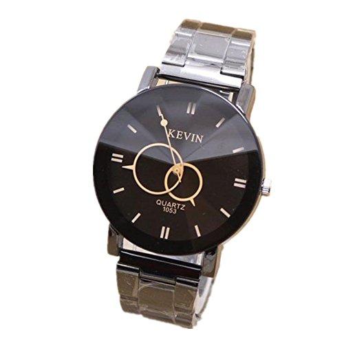 Loveso Herren Elegant Armbanduhr Mode Mode Design Schwarz Edelstahl Band runden Zifferblatt Quarz Armbanduhr Mann Geschenk