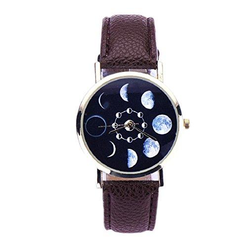 Loveso Armband uhr elegant Mode Frauen elegantes Mondfinsternis Muster Leder analoge Braun