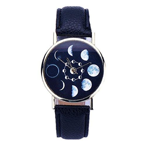 Loveso Armband uhr elegant Mode Frauen elegantes Mondfinsternis Muster Leder analoge Schwarz