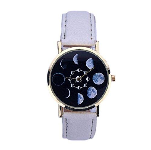 Loveso Armband uhr elegant Mode Frauen elegantes Mondfinsternis Muster Leder analoge Quarz Armbanduhr Weiss