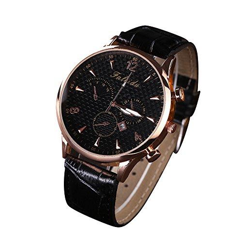 Loveso Armband uhr Freizeit Quarz Analoguhr Uhr Leder Armbanduhr Schwarz A