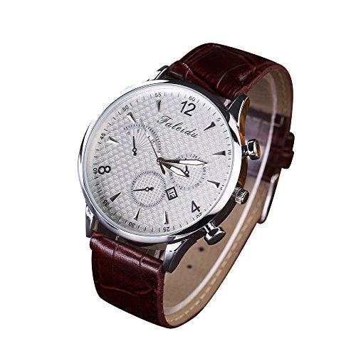 Loveso Armband uhr Freizeit Quarz Analoguhr Uhr Leder Armbanduhr Weiss C
