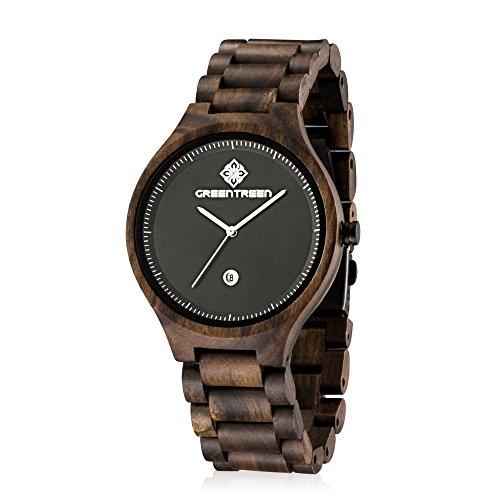 GREENTREEN Herren Armband sehen schwarze Sandelholz mit Kalender