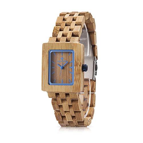 GREENTREEN Quarz Armbanduhr massive Naturholz Quarzuhr Uhr handgefertigt braun Bambusuhren
