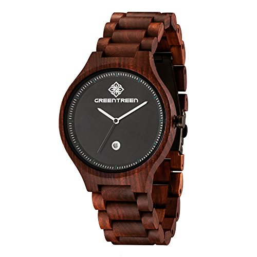 greentreen Holz Uhren greetreen handgefertigt massiv roetlich Holz Armbanduhr fuer Maenner Quarz Display mit Datum Kalender Farbe Rot