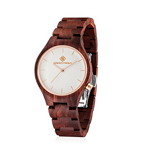 GreenTreen Herren Handgefertigte Holz Armbanduhren Mit Rot Sandelholz Holz Uhr Womens Holzuhren