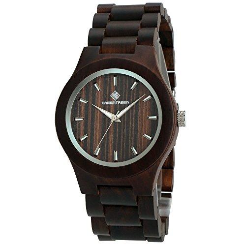 GREENTREEN Handgefertigte Uhren fuer Maenner mit schwarzen hoelzernen Armbandes