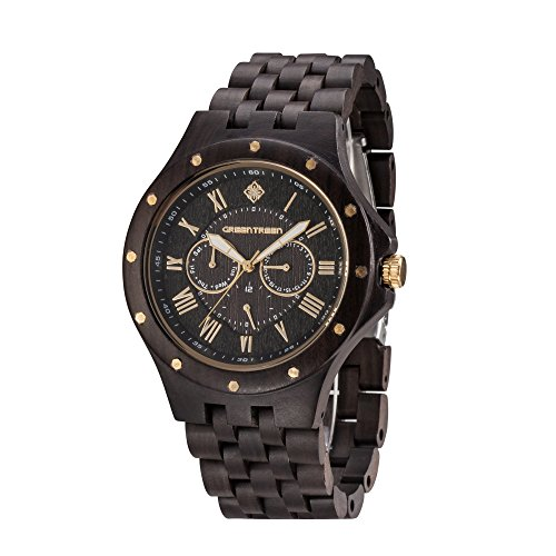 GREENTREEN Herren Multifunktions Uhr schwarz Sandelholz Chronograph Armbanduhren 3 Zeitzonenuhren