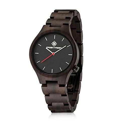GREENTREEN Natuerliche handgemachte Uhren Herren Sandelholz Armbanduhr fuer Herren schwarz Herren quartz armbanduhr