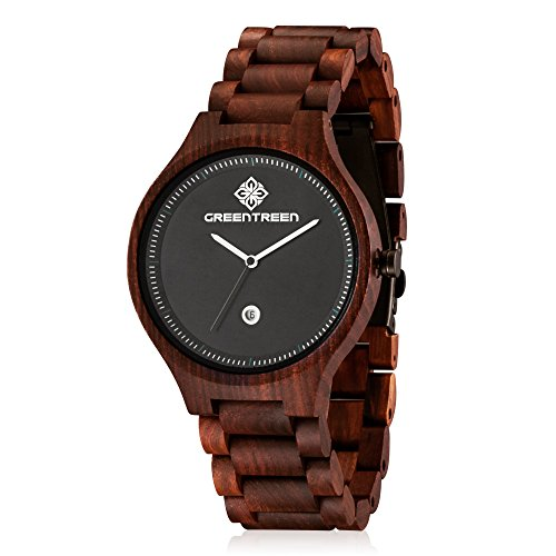 GREENTREEN Unisex natuerlichen Holz Armbanduhr mit Kalender Funktion rot