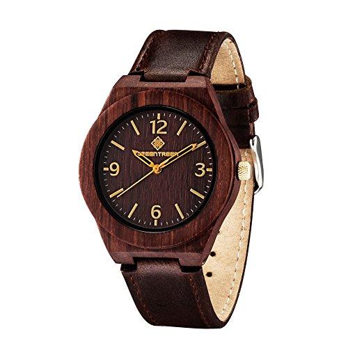 Greentreen hoelzerne Uhr fuer Maenner Unisex Groesse hoelzerne Damen Uhr mit weichem echtes Leder Baender Sandelholz im tiefen Rot elegant