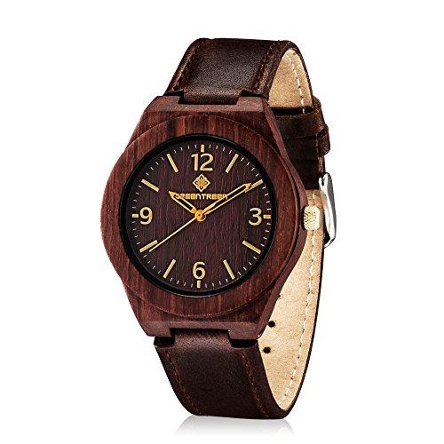 Hoelzerne Uhren mit klassischem rotem Sandelholz Uhr Kasten Match Weinlese verruecktes Pferden Leder Buegel Dunkelbraun