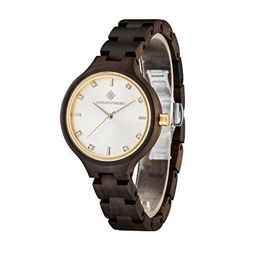 Schwarz Holz Uhren fuer Frauen 36 mm Holz Fall Band Breite 14 mm Sandelholz Armbanduhr mit Miyota Bewegung