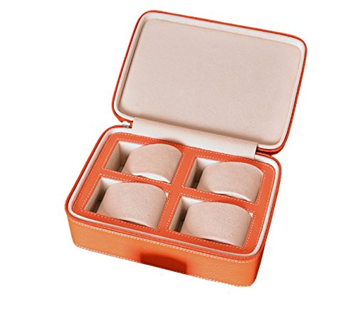 New Geschenk orange Leder 4 slot Travel Storage Fall Tasche Watch Box