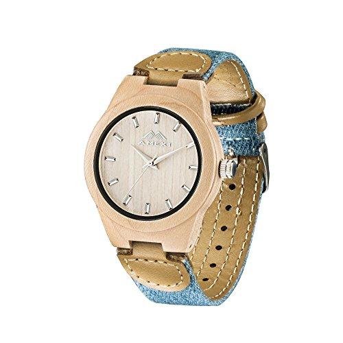 AMEXI Analoge hoelzernen Uhren mit Stoff und Leder Armband