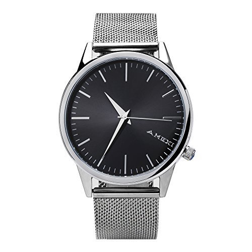 Amexi Quarz herren Armbanduhr elegant Quarzuhr Uhr modisch Design klassisch silber