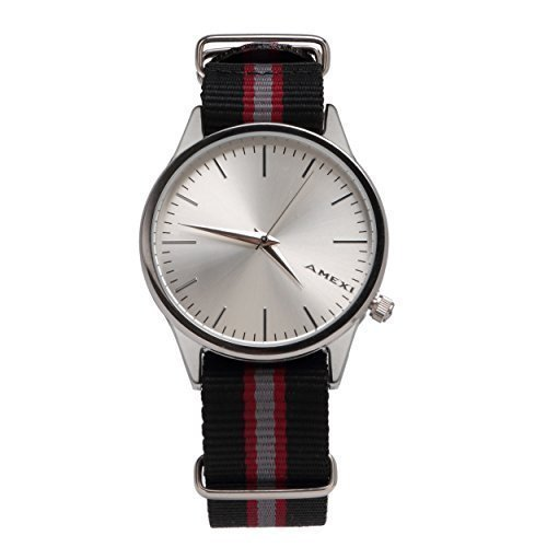 Amexi Herren Armbanduhr 50 m wasserdicht Nylon Armband Schwarz Grau Rot