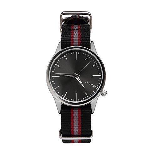 Amexi Nato Nylon Edelstahl Armbanduhr fuer Frauen Farbe schwarz
