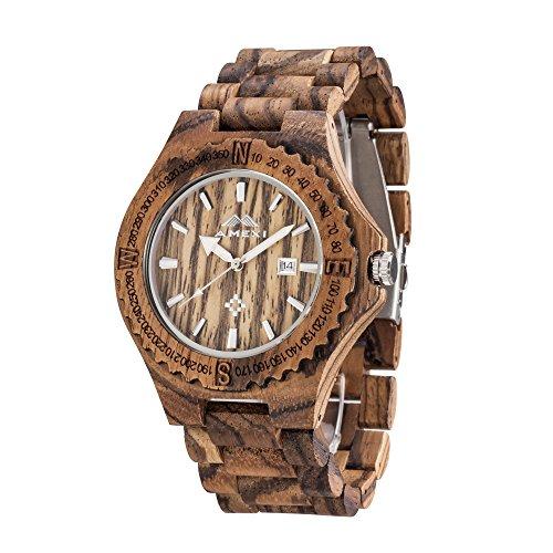 Amexi Handgefertigte Holz Armbanduhr Unisex Groesse Farbe Braun