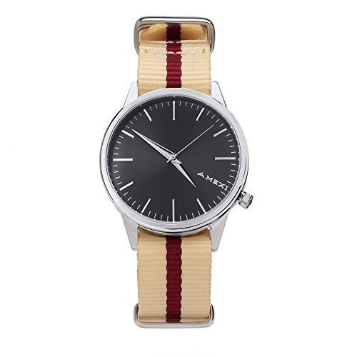 Amexi Herren Armbanduhr mit Nylon Band bis 50 m wasserdicht cremefarben mit schwarzem Zifferblatt