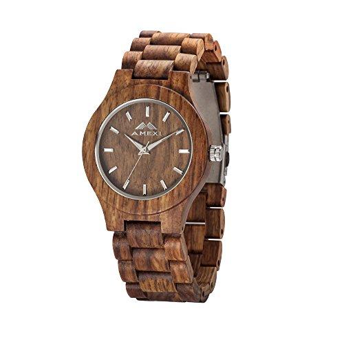 Amexi hoelzernes Uhr Unisexgroessen Uhr Holster Rosewood Frauen und Mens Geschenk