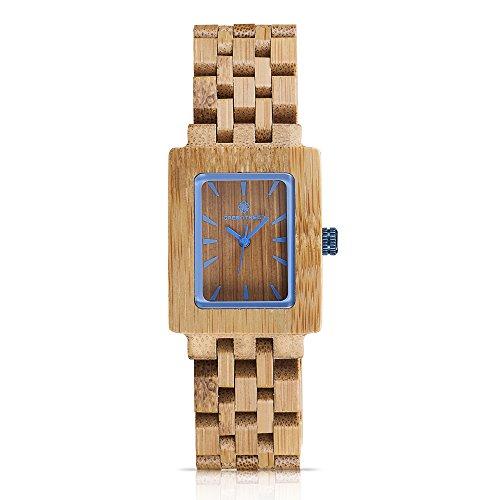 Greentreen Handmade Holz Uhren Design Unisex Groesse Bambus Holzuhren Herren und