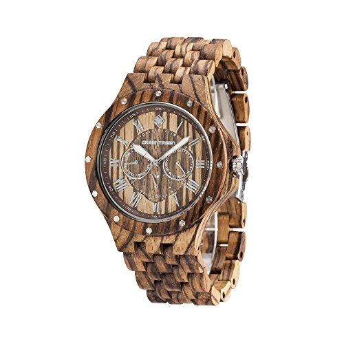 GREENTREEN Herren Holz Uhren mit Zebrano Sandelholz Holz Armbanduhren Multifunktionsuhren Herren