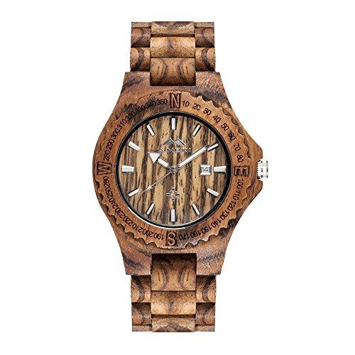 AMEXI Handgefertigte Uhr Herren Quarz Armbanduhr massive Naturholz Quarzuhr Uhr handgefertigt braun Zebraholz