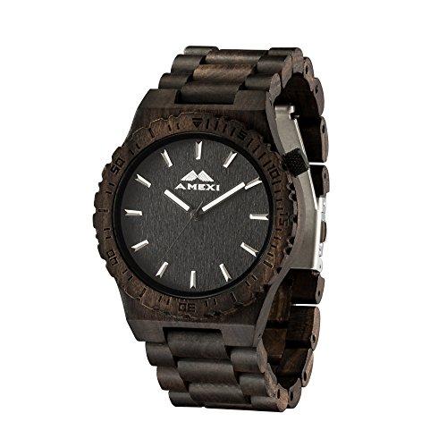 AMEXI Handgefertigte Holz Uhren Herren mit Schwarz Sandelholz Armbanduhr
