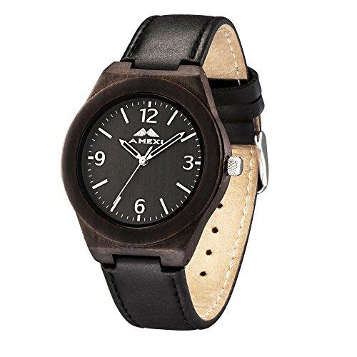 AMEXI Handgefertigte Uhren fuer Herren Natur schwarzes Lederband Uhren Quarzuhren fuer Maenner