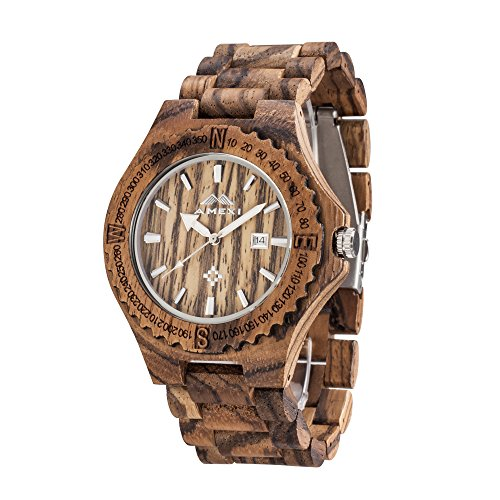 AMEXI Zebra hoelzerne Uhren der Maenner des hoelzernen Armbanduhr Maenner fuer Mannquarz Analog Uhren