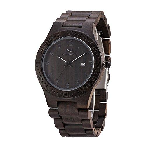 Hoelzerne Uhren fuer Maenner 44mm Fall Natuerliche schwarze Sandelholz Armbanduhr mit Miyota Bewegungs Datum Fenster