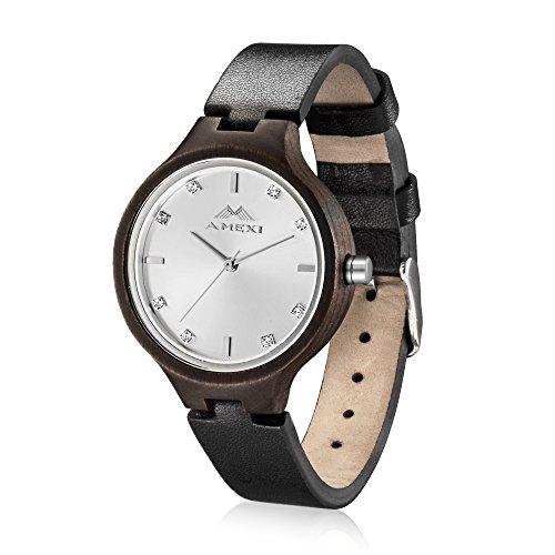 Hoelzerne Uhren fuer Dame Natural Wood Case mit winzigen Lederarmband japanische Quarz Analog Display