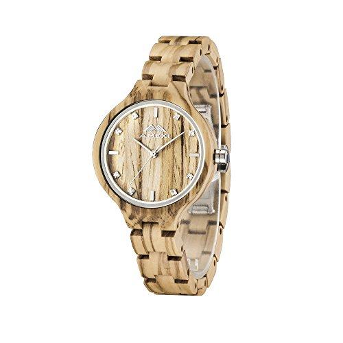 AMEXI natuerliche oliv hoelzerne Armbanduhr fuer Damen Aufrechtzuerhalten 100 Sandelholz Holzuhr Damen