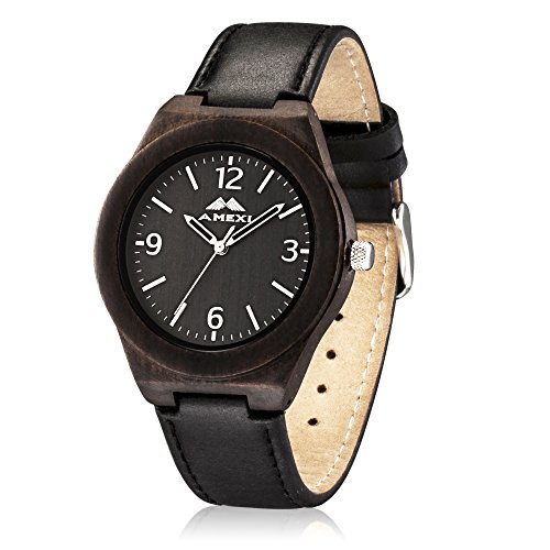 Hoelzerne Uhren mit natuerlichem Sandelholz Kasten u Schwarzem echtes Leder Band das durch Miyota Quarz Bewegung laeuft