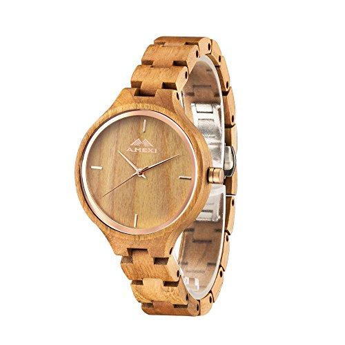 AMEXI Sandelholz Armbanduhr Kirschholz Uhren Quarz Sportuhren
