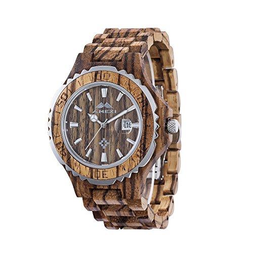 AMEXI Zebra Wooden Armbanduhr fuer Herren Kalender Uhren Holz Armband Uhren braun
